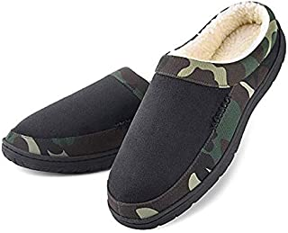 Dasein Men's Slippers Memory Foam Winter Warm Cozy Fleece Lining Slip On Comfortable Bedroom House Shoes Anti-Skid Camouflage (13-14, Black)