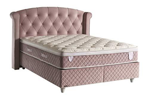 Bedworld Boxspring 140x200 zonder Matras - 2 Persoons Bed - Massieve Box met Luxe Hoofbord - Antraciet