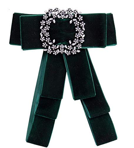 THTHT Fashion Overdreven Strass Jurk Shirt fluweel Broches Pin Bow Tie Jurk Kraag Sieraden Accessoires donkergroen
