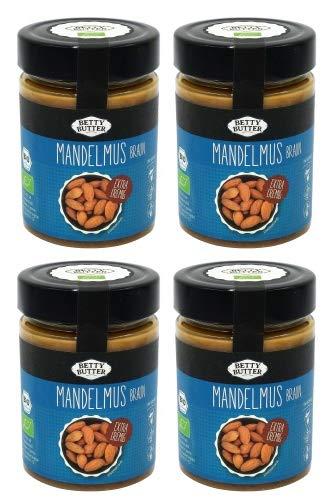 4er Spar Pack, Bio Premium Mandelmus braun, geröstet, 4 x 330 g, Mandelbutter, Mandelpüree, Almondbutter, natürliches Nussmus ohne Zusatzstoffe