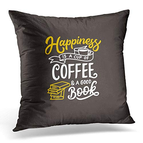 Funda de almohada decorativa con texto en inglés 'Happiness Is Cup', color blanco y negro, para decoración del hogar, 45,7 x 45,7 cm