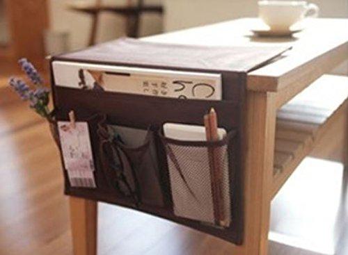 【 ベッド サイド ポケット 】 こたつ や テーブル の リモコン ラック 小物 整理 (ブラウン)