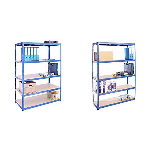 G-Rack Garage Shelving Unit: 180cm x 120cm x 60cm | Single bay, Blue 5 Tier Unit | 175kg Load Weight Per Tier (875kg Per Unit) & 180cm x 120cm x 40cm, Blue 5 Tier (175KG Per Shelf), 875KG Capacity