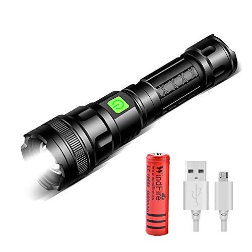Linterna LED Recargable USB, Potente Linterna de 3000 Lúmenes, Enfoque Ajustable, Impermeablea, 3 Modos, Linterna de Bolsillo Súper Brillante para Exteriores, Cámping, Caminar, (batería incluida)