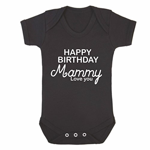 Reality Glitch Body à manches courtes - Inscription ''Happy Birthday Mammy'' - Noir - Noir - Large