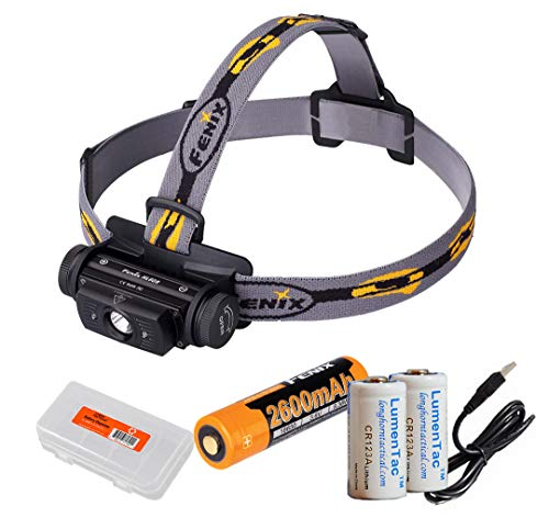 Fenix HL60R 950 Lumens Rechargeable LED Headlamp with Rechargeable Battery, USB Charging cable and LumenTac Organizer and Backup CR123As