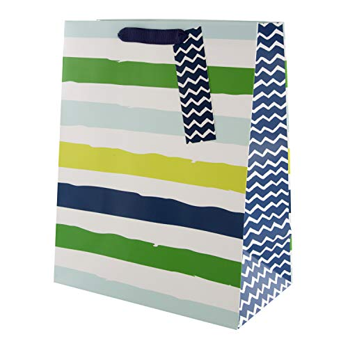 Hallmark Geschenktasche für verschiedene Anlässe, blau und grün gestreift, groß (Geburtstag, Vatertag, Abschluss, Ruhestand)