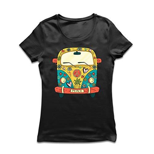 lepni.me Camiseta Mujer Años 60 70 Hippie Van, Flores, Amor, símbolo de Paz Libertad (XX-Large Negro Multicolor)