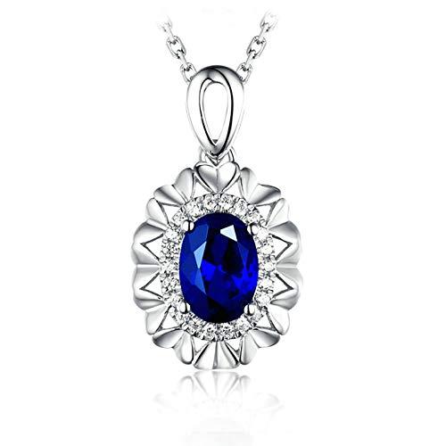 ButiRest - Collana in oro bianco 750 con ciondolo a forma di cuore con zaffiro blu taglio ovale con diamante 18 carati e Oro bianco, colore: Blu - 0,6 carati., cod. XL181-3CKL020