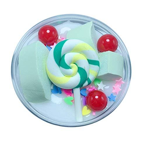 Dapei Mini Lollipop Candy Stil Farbmischung Schleim Kinder Spaß Crazy Floam Schlamm Duft Entlastung Charme Langsam Steigende Simulation Lehm Spielzeug Glänzendes Geschenk, 60ml (Weiß)