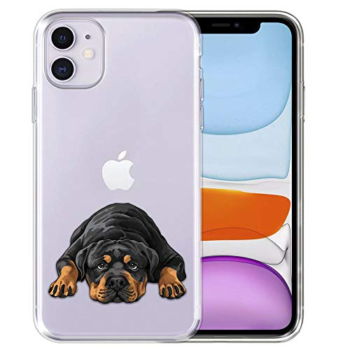 FINCIBO Case Compatible with Apple iPhone 11 6.1 inch 2019, Clear Transparent TPU Silicone Protector Case Cover Soft Gel Skin for iPhone 11 (NOT FIT 11 Pro) - Rottweiler Dog Lying Down Looking Up