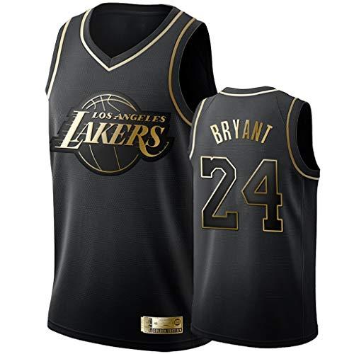 XYFF Herren-Basketballtrikot - Kobe Bryant - Los Angeles Lakers # 24-Trikot, Schwarzgold-Trikot, Besticktes Mesh-Basketball-Swingman-Trikot, 100% Polyester-S