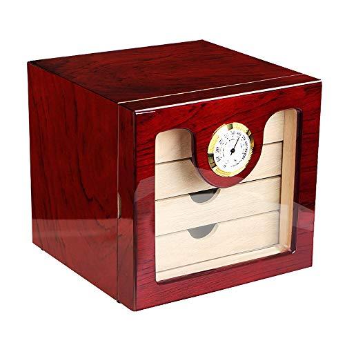 FxsD Zigarrenschrank, Zedernholz Piano Lack-Beschaffenheit Rot, 4-Schicht Schubladen-Typ mit hohen Kapazität Cigar Box, Profi-Zigarre Thermostat-Luftbefeuchter, Mit Hygrometer und Luftbefeuchter ##