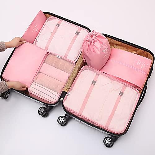 Wmeat-P Bolsa de almacenamiento de viaje, organizadores de embalaje Bolsas de almacenamiento para accesorios de viaje, para ropa, bolsa de zapatos, bolsa de almacenamiento, conjunto