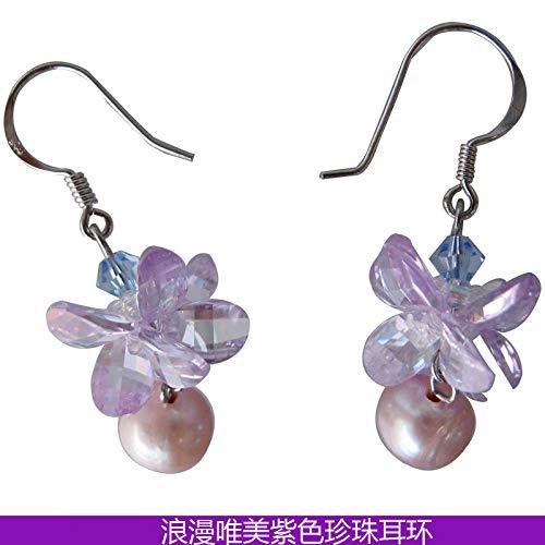 DAZHE Relojes Militares Relojes de Pulsera de cuar Pendientes de Perlas de Cristal de Flor Femenina.