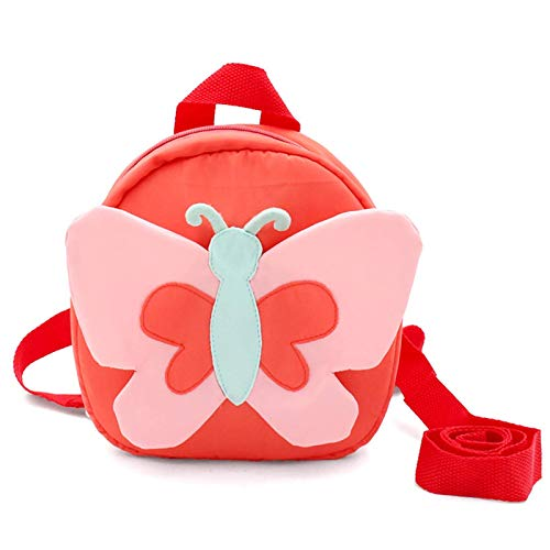 Encantador Mochila niños niños pequeños lindos 3d patrón de animales caminando rucksack baby walker's bolso de viaje bolsas de la escuela de dibujos animados con la cuerda de seguridad (color: maripos