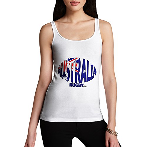TWISTED ENVY Damen Tank Top Australia Rugby Ball Flag Print X-Large Weiß