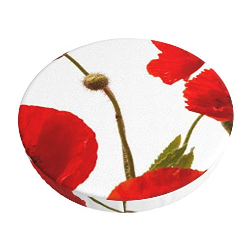 Round Bar Stools Cover,Rote Mohnblumen,Stretch Chair Seat Bar Stool Cover Seat Cushion Slipcovers Chair Cushion Cover Round Lift Chair Stool