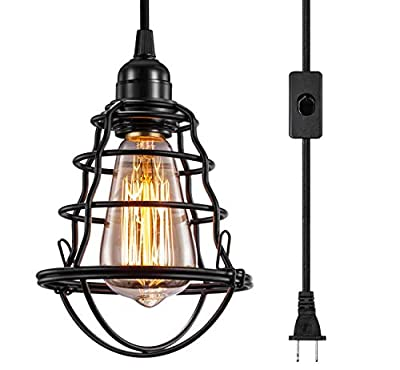 INNOCCY Industrial Plug in Pendant Light Vintage Hanging Cage Pendant Lighting E26 E27 Mini Pendant Light Edison Plug in Light Fixture On/Off Switch