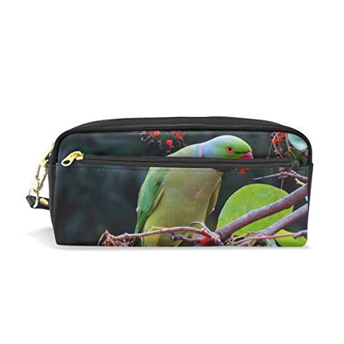 Potlood zak zak dier vogel papegaai tak parkiet pen case potlood houder met compartimenten voor school student leer cosmetische tas