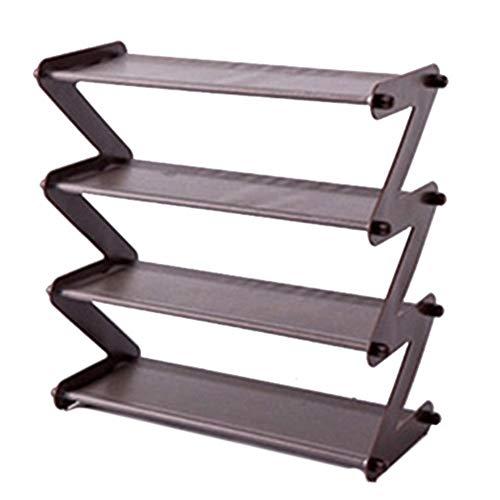 Zapatero multifunción de almacenamiento para zapatos, organizador de 4 capas, apilable, de acero inoxidable de 4 niveles, con estante de almacenamiento de tela no tejida (color marrón)