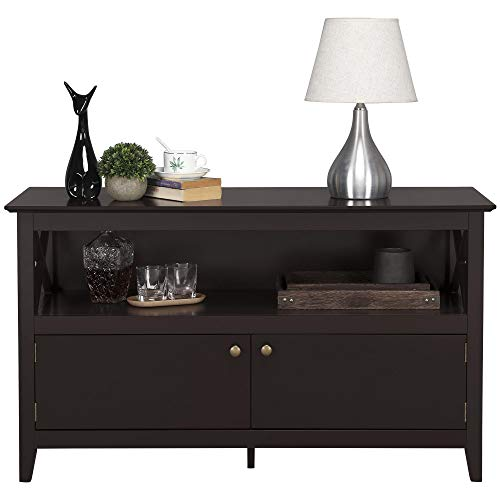 Topeakmart Modern Wood and High Qulity Sofa/Entry Console Table with Storage Open Shelf 2 Cabinet Doors for Entryway/Living Room 41.7 Inch Espresso