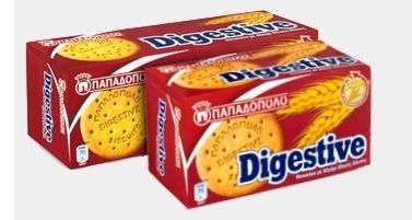 Original Digestive Weizenkekse aus Griechenland 400g Papadopoulos runde griechische Weizen Kekse Biscuits mit Vollkornanteil