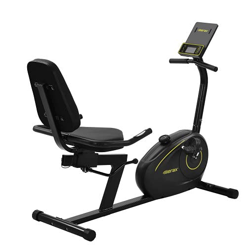 KZKR - Bicicleta estática acostada (8 niveles de resistencia ajustables, pantalla LCD, sensores de pulso Bluetooth, aplicación gratuita para entrenamiento de sala, color negro