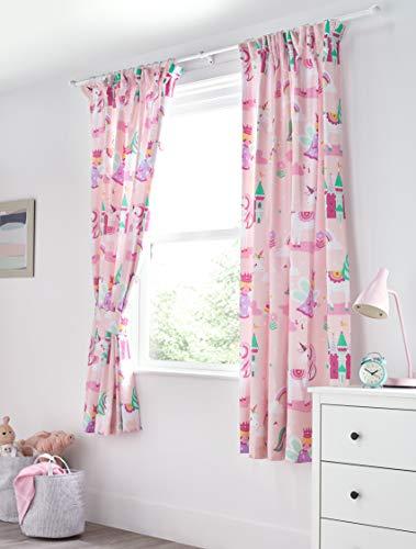 Bloomsbury Mill - Cortinas forradas con alzapaños para niños - Estampado de unicornios, princesas de cuento y castillos encantados - Rosa - 168 cm x 183 cm