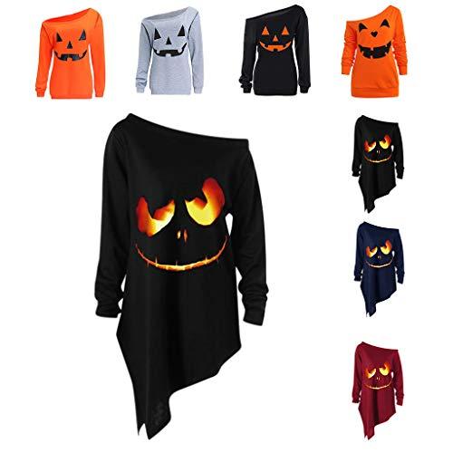 LOPILY Halloween Shirts Kürbis Kostüm Damen Schulterfrei 3D Sweatshirts für Halloween EIN Schulter Sexy Halloween Party Tshirt Gruselige Muster Oberteile Damen Halloween Kostüme (Schwarz, 36)