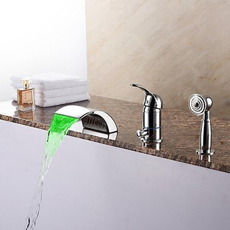 SQL Zeitgenssisch Romanische Wanne LED   Wasserfall   Handdusche inklusive with Keramisches Ventil Einhand Drei Lcher for Chrom .