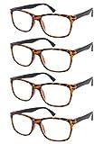 TBOC Gafas de Lectura Presbicia Vista Cansada - [Pack 4 Unidades] Graduadas +2.00 Dioptrías Montura de Pasta Carey de Diseño Moda para Hombre Mujer Unisex Lentes de Aumento Leer Ver de Cerca