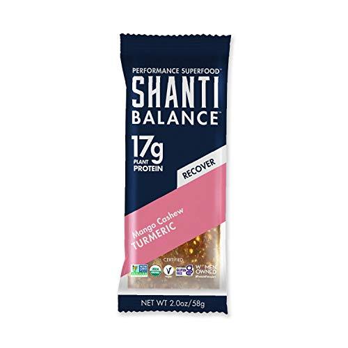 SHANTI BALANCE | RECOVER Mango Cashew Turmeric | 17G Plant Based Protein | Organic Gluten Free Superfood | Immunity Boosting | Performance Nutrition | 12 Count, 2 oz Bars
