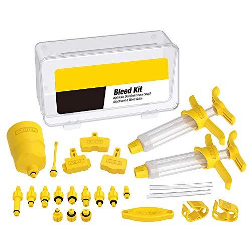 Kit de purga de aceite mineral de freno hidráulico para bicicleta, herramientas profesionales de reparación de bicicletas para bicicleta de carretera, color amarillo