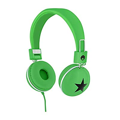 RockPapa 828 On Ear Star Headphones Foldable, Adjustable Headband for Kids/Adults, iPhone iPod iPad Smartphones Tablets Computer DVD Green