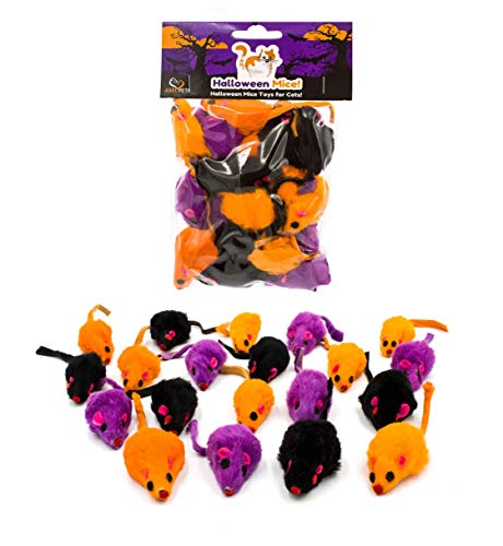 AXEL PETS 20 Halloween Colorful Furry Mice Cat Toys with Catnip and Rattle Sound Made of Real Rabbit Fur, Interactive Catch Play Teaser Mouse Toy for Cats and Kittens. Pack of 20 Mice