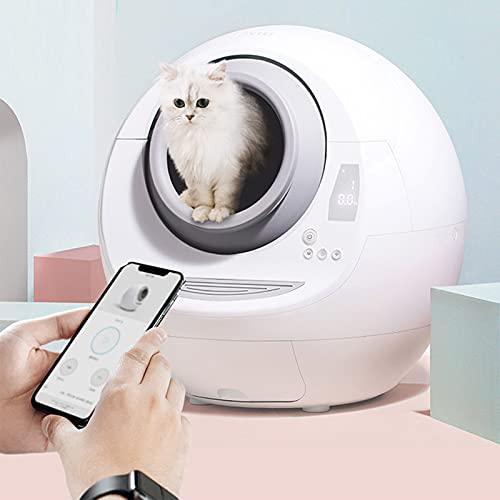 QJXX Toilette per Lettiera per Gatti con Paletta per Lettiera Cassetto Chiuso Lucernario E Telecomando per App Completamente Chiusa Toilette Elettrica Intelligente per Gatti Stile Semplice E Moderno