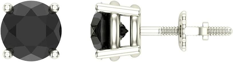 Black Diamond Earrings for Women Men Round Cut Diamond Studs 14K Solid Gold Threaded Posts