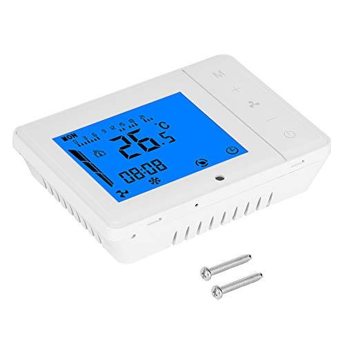 Winnaar LCD-scherm Centrale airconditioning Temperatuurregelaar Koeling Verwarming Thermostaat, 4 snelheden Slimme digitale thermostaat Elektrische temperatuurregelaar voor Room Home (wit)