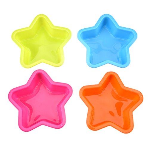 Bestonzon 4 Stück 5-zackige Kuchenform in Sternform, Silikonform, wiederverwendbar, Backwerkzeug für zu Hause