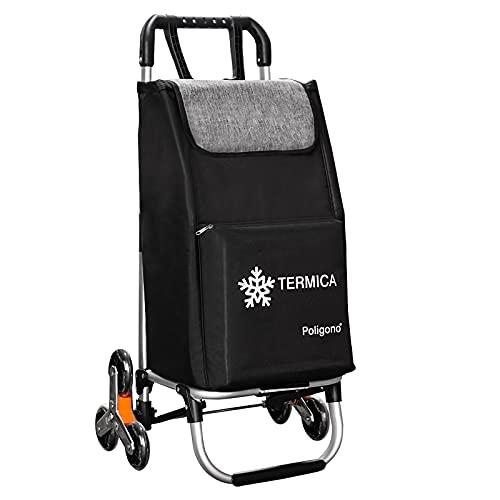Carro para la compra con compartimento térmico, sistema de 3 + 3 ruedas, escalera, fabricado en aleación de aluminio con bolsa de robusto poliéster impermeable, color negro