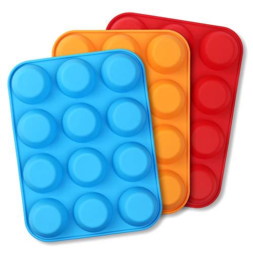 Cozihom - Stampo in silicone per muffin, 12 tazze, per muffin, in silicone, antiaderente, 3 pezzi