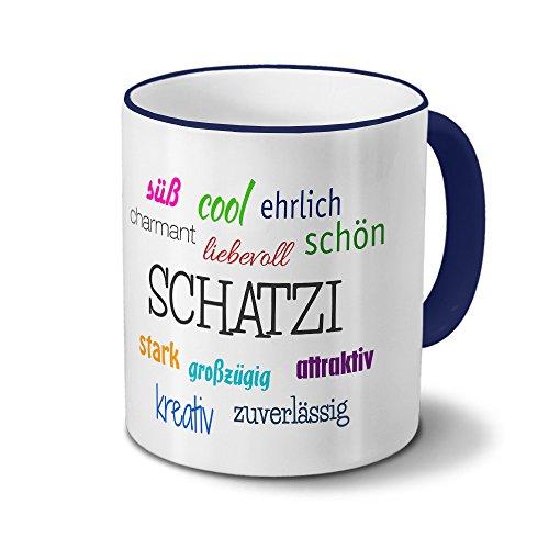 printplanet Tasse mit Namen Schatzi - Motiv Positive Eigenschaften - Namenstasse, Kaffeebecher, Mug, Becher, Kaffeetasse - Farbe Blau