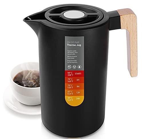 YUANJ Thermoskanne 1L, Stainless Steel 304, Vakuum Kaffeekanne mit Holzgriff, Edelstahl Doppelwandig Isolierkanne (Quick Press Verschluss, 12h heiß, 24h kalt) (Schwarz)