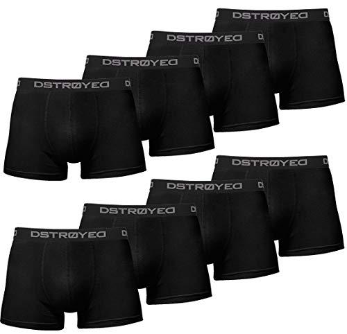 DSTROYED ® Herren Boxershorts Men 8er Pack Unterwäsche Unterhosen Männer Retroshorts Baumwolle 316 (M, 316h 8er Set Schwarz)