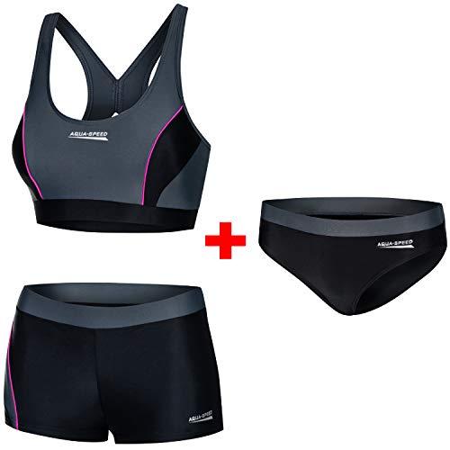 Aqua Speed Damen Bikini Set + Bikinihose   Zweiteiler für Mädchen Frauen   Bikinis Beachvolleyball   Bathing Suits Woman   Schwimmbikini   Schwimmen   Gr. 36, 139 Black - Gray - Pink   Fiona