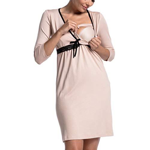 Kuncg Abito da Pigiama V Collo Premaman Camicia Vestito Manica Lunga Incinta Camicie da Notte con Pizzo Donna per Allattamento (Beige,CN L)