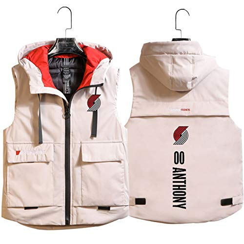 Anthony # 00 Blazers Basketball Vest, Basketball Autumn and Winter Hooded Waistcoat Couple Sleeveless Youth Popular Outdoor Indoor Sports Jacket White-XXL