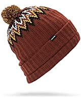 Volcom Men's Jump Stalker Roll Over Fit 2 in 1 Beanie, Burnt red, One Size