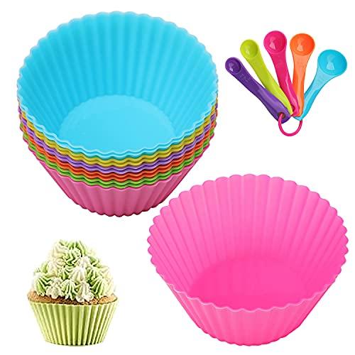 12 Stück Cupcake-Formen, Wiederverwendbare Silikonformen Backformen Muffinförmchen für Kuchen, Eincreme und Pudding